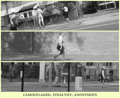camouflaged, stealthy, anonymous