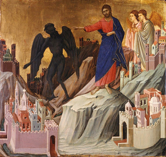 Duccio, Maestà, The Temptation of Christ