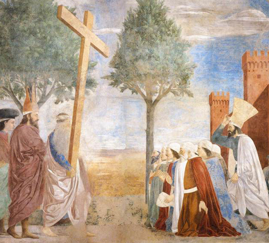 Piero della Francesca, Exaltation of the Cross, detail