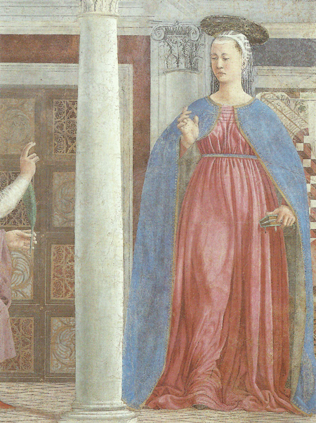 Piero della Francesca, Legend of the True Cross, Annunciation, detail
