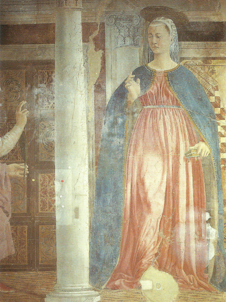 Piero della Francesca, Legend of the True Cross, Annunciation, detail, pre-restoration
